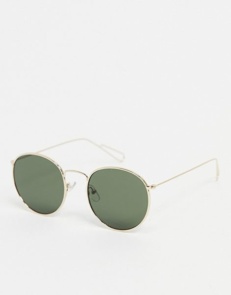 Weekday - Explore - Runde Sonnenbrille in Gold