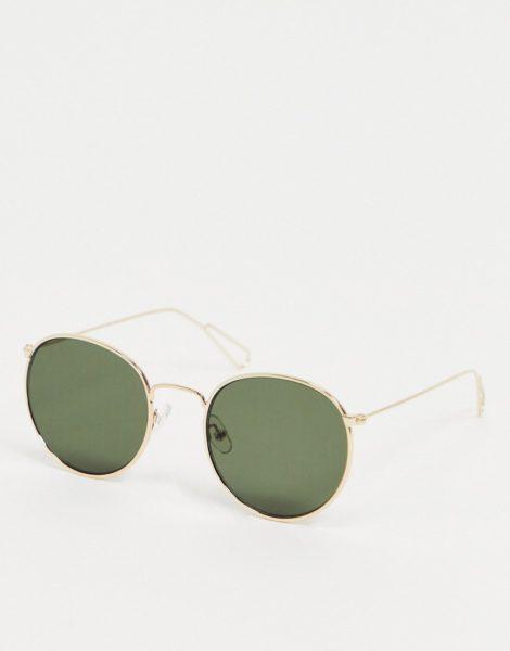 Weekday - Explore - Runde Sonnenbrille in Gold mit grünen Gläsern