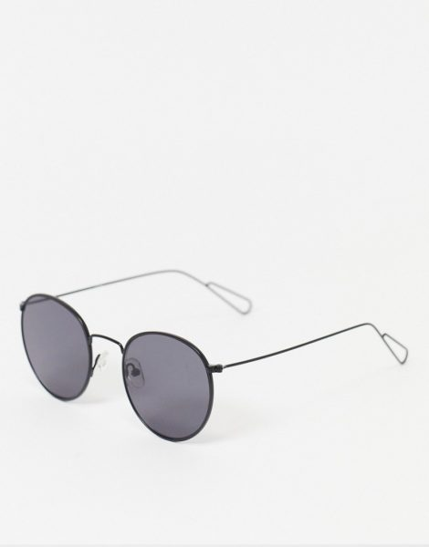 Weekday - Explore - Runde Sonnenbrille in Schwarz