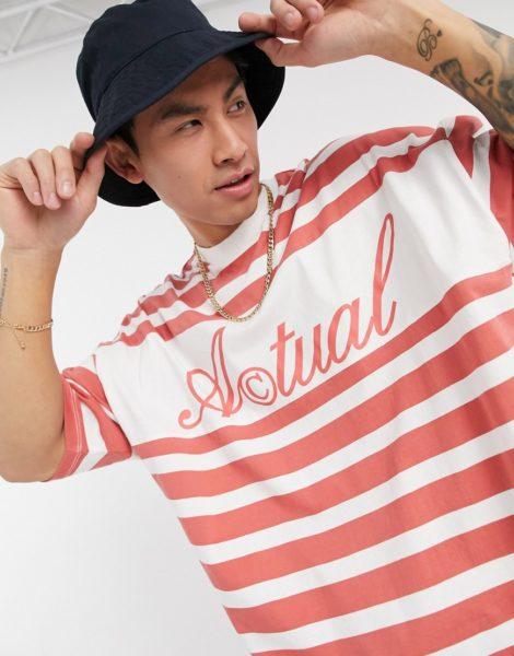 ASOS - Actual - Oversize T-Shirt in Rosa gestreift