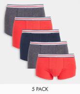 ASOS DESIGN - 5er-Pack Unterhosen mit gestreiftem Bund in Blau, Rot und Grau-Mehrfarbig