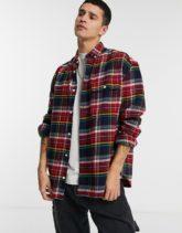 ASOS DESIGN - Angerautes Oversize-Hemd aus Flanell im Stil der 90er mit buntem College-Karomuster-Mehrfarbig