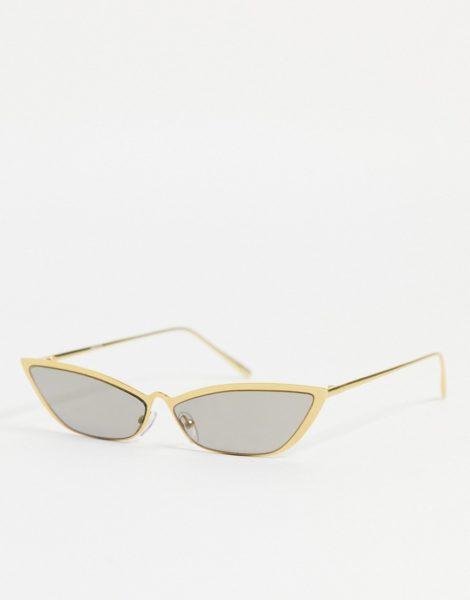 ASOS DESIGN - Angeschrägte Sonnenbrille in Gold mit rauchig-goldenen Gläsern-Goldfarben