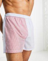 ASOS DESIGN - Boxershorts aus Webstoff mit Patchwork-Streifendesign-Mehrfarbig