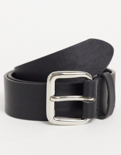 ASOS DESIGN - Breiter Gürtel aus Kunstleder in Schwarz mit silberner, rechteckiger Schnalle