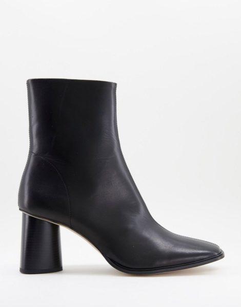 ASOS DESIGN - Chelsea-Absatzstiefel aus Leder in Schwarz mit eckiger Zehenpartie und schwarzer Sohle