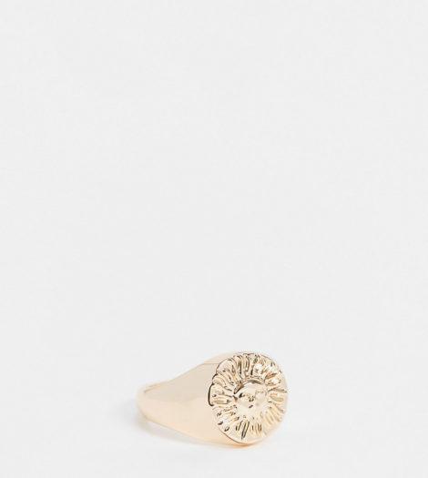 ASOS DESIGN Curve - Goldener Ring mit Sonnenmotiv-Goldfarben