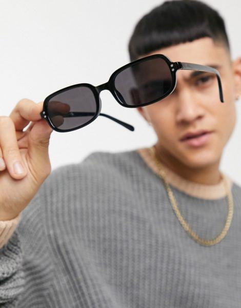 ASOS DESIGN - Eckige Sonnenbrille aus recyceltem Material in Schwarz mit massivschwarzen Gläsern