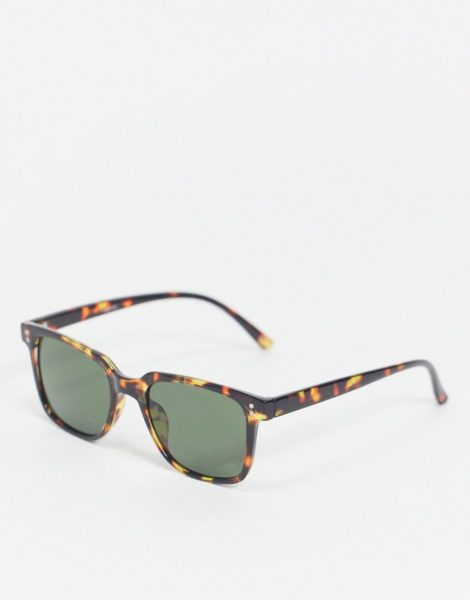 ASOS DESIGN - Eckige Sonnenbrille in Schildpattoptik mit grün getönten Gläsern-Braun