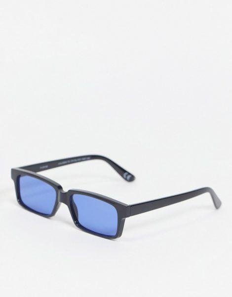 ASOS DESIGN - Eckige Sonnenbrille in Schwarz mit getönten Gläsern in Blau
