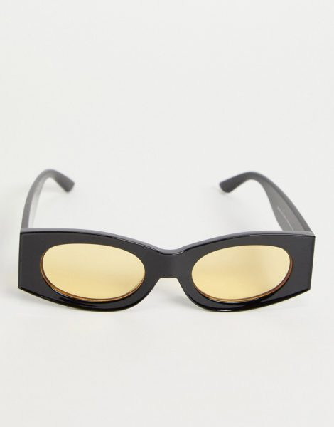 ASOS DESIGN - Eckige Sonnenbrille in Schwarz mit ovalen Gläsern in Gelb