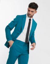 ASOS DESIGN - Enge Anzugjacke in Blaugrün