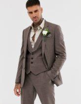 ASOS DESIGN - Enge Hochzeitsanzugsjacke aus sanftbraunem Twill