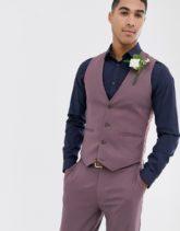ASOS DESIGN - Enge Hochzeitsanzugsweste in Lavendel-Lila