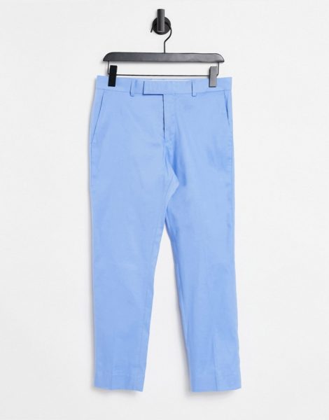 ASOS DESIGN - Enge, knöchellange, elegante Hose mit Struktur in Blau