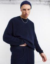 ASOS DESIGN - Gerippter Baumwoll-Pullover in Marineblau, Kombiteil-Beige