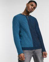 ASOS DESIGN - Gerippter Pullover in blaugrünen Blockfarben