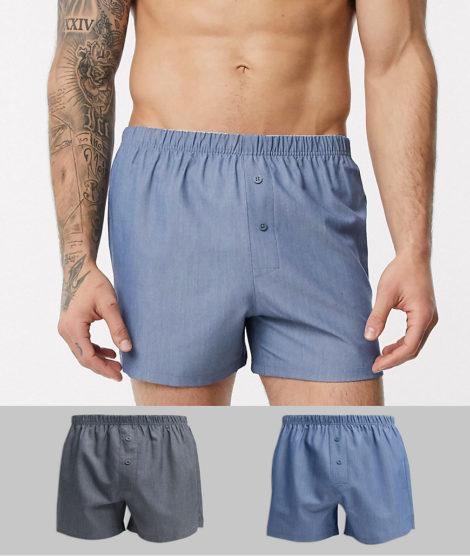 ASOS DESIGN - Gewebte Boxershorts im 2er-Pack-Mehrfarbig