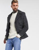 ASOS DESIGN - Grauer Mantel aus Wollmischung mit verdeckter Leiste