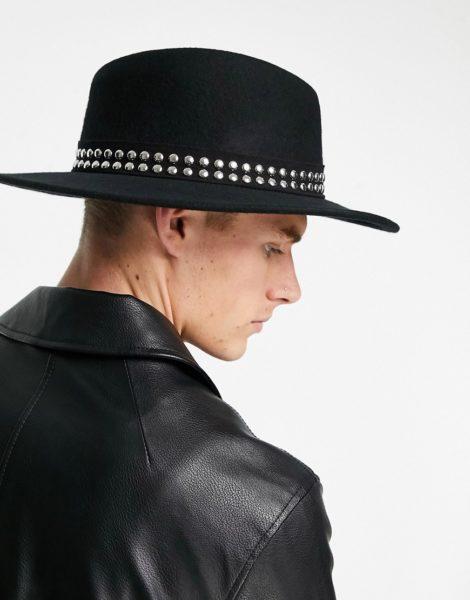 ASOS DESIGN - Größenverstellbarer Porkpie-Hut in Schwarz mit breiter Krempe und einem mit Nieten besetzten Band