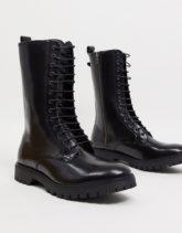 ASOS DESIGN - Hohe Schnürstiefel aus schwarzem Leder