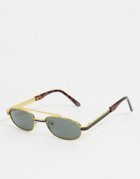 ASOS DESIGN - Kleine, ovale Sonnenbrille in Gold mit getönten Gläsern und Brauenstegdetail-Goldfarben