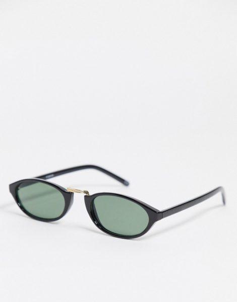 ASOS DESIGN - Kleine, ovale Sonnenbrille in Schwarz mit getönten Gläsern