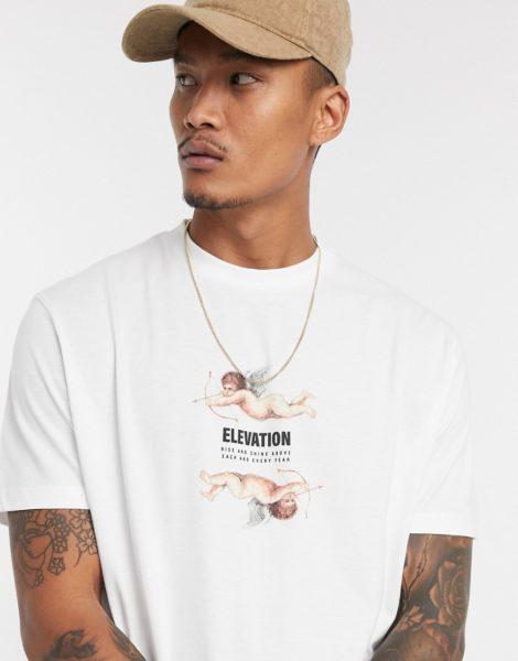 ASOS DESIGN - Legeres T-Shirt mit Engelsprint und Schriftzug in Weiß