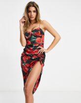ASOS DESIGN - Midi-Bodycon-Kleid aus Stretch-Satin mit seitlicher Raffung und Blumendruck-Mehrfarbig