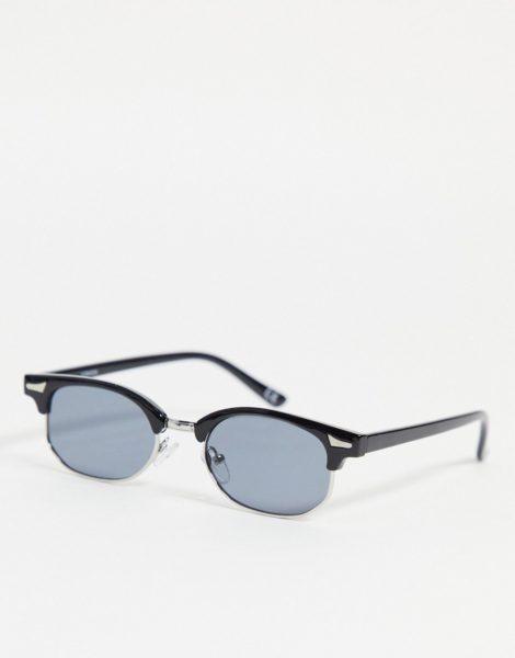 ASOS DESIGN - Mittelgroße Retro-Sonnenbrille in Schwarz mit getönten Gläsern