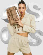 ASOS DESIGN - Nylon-Schultertasche in Taupe mit wattierter Steppung-Braun