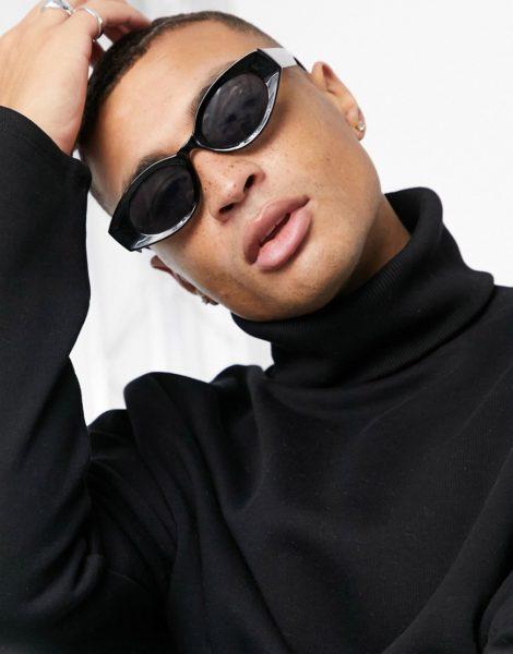 ASOS DESIGN - Ovale, mittelgroße Sonnenbrille in Schwarz mit getönten Gläsern