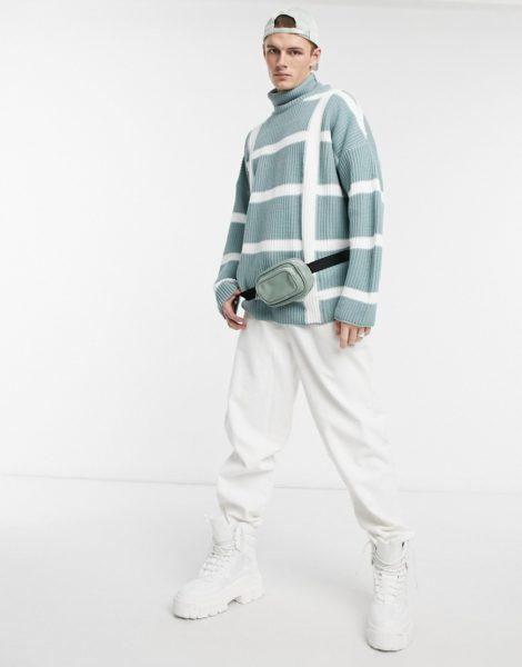 ASOS DESIGN - Oversize-Pullover in Minzgrün mit Stehkragen, Seemanns-Rippenstruktur Karo-Streifendesign