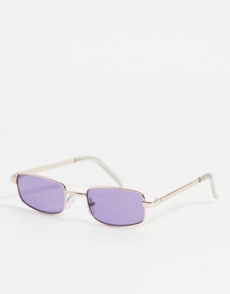 ASOS DESIGN - Rechteckige Sonnenbrille in Gold mit lila Gläsern-Goldfarben