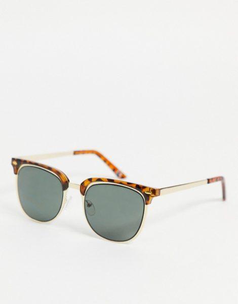 ASOS DESIGN - Retro-Sonnenbrille in Gold und Schildpattoptik mit schwarzen Gläsern-Goldfarben
