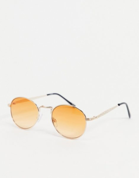 ASOS DESIGN - Runde Sonnenbrille in Gold mit orangenen Gläsern-Goldfarben