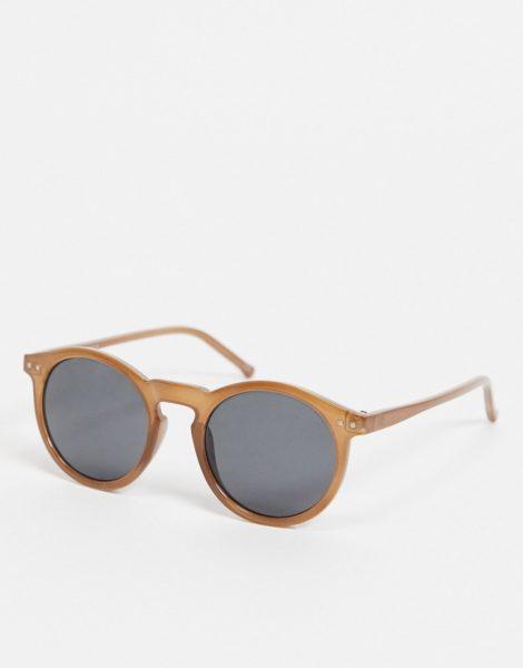 ASOS DESIGN - Runde Sonnenbrille mit Gestell in Braun und getönten Gläsern