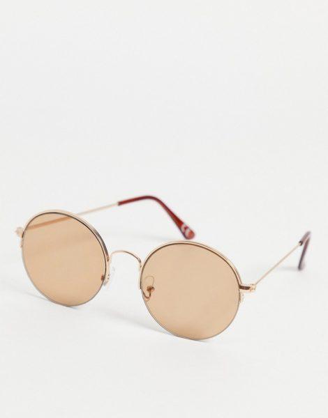 ASOS DESIGN - Runde, goldene Sonnenbrille im Stil de 70er-Jahre mit hellbraunen Gläsern-Goldfarben