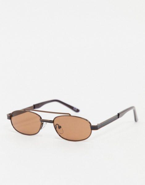 ASOS DESIGN - Schmale Piloten-Sonnenbrille in Braun mit getönten Gläsern in Tabakbraun