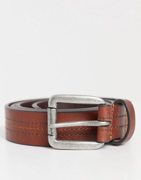 ASOS DESIGN - Schmaler Gürtel aus Leder mit Nahtdetail und silberner Schnalle-Braun