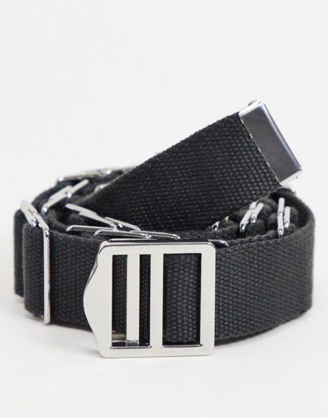 ASOS DESIGN - Schmaler Gürtel aus schwarzem Baumwoll-Leinen mit Metalldetails
