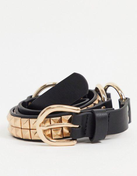 ASOS DESIGN - Schmaler Gürtel aus schwarzem Kunstleder mit goldener, Nieten besetzter Schnalle
