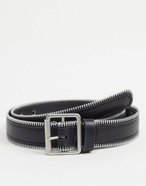 ASOS DESIGN - Schmaler Gürtel in Schwarz aus Kunstleder mit Kanten im Reißverschluss-Design