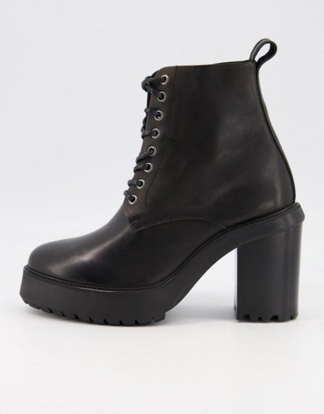 ASOS DESIGN - Schnürstiefel aus schwarzem Leder mit Absatz und Plateausohle