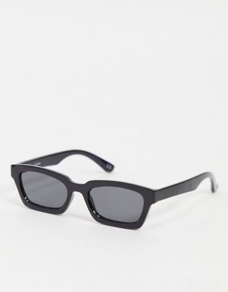 ASOS DESIGN - Schräge, eckige Sonnenbrille in Schwarz mit getönten Gläsern