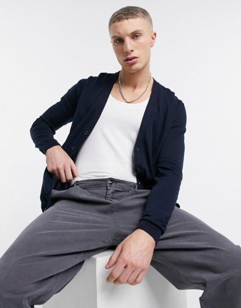 ASOS DESIGN - Strickjacke aus Baumwolle in Marineblau