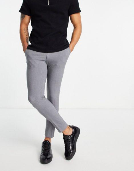 ASOS DESIGN - Superenge, elegante Hose mit kurzem Schnitt in Grau