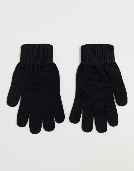 ASOS DESIGN - Touchscreen-Handschuhe aus recyceltem Polyester in Schwarz