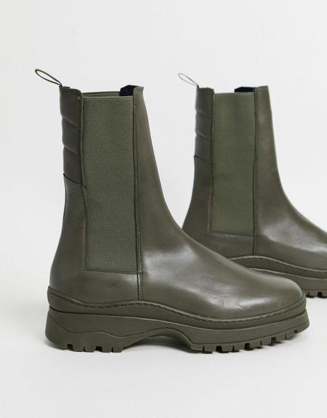 ASOS DESIGN - Wadenhohe Chelsea-Stiefel aus khaki Leder mit wattiertem Schaft und dicker Sohle-Grün