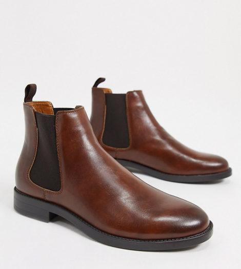 ASOS DESIGN Wide Fit - Braune Chelsea-Stiefel aus Kunstleder mit schwarzer Sohle